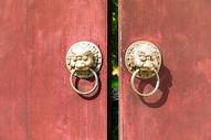 中国风古铜狮子门把图片