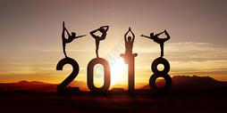 2018日落阳光下瑜伽健身运动图片