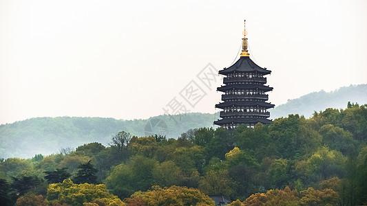 山脉塔楼简约背景图片