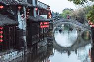 江南水乡西塘小桥背景图片