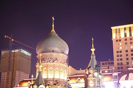 夜幕下的哈尔滨图片
