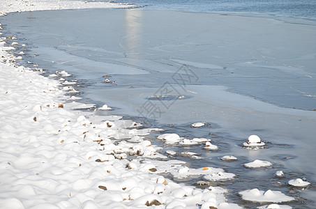 冬天雪枯草江边高清图片