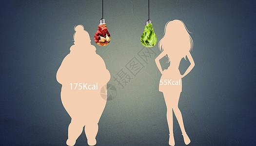 创意健康减肥对比图片