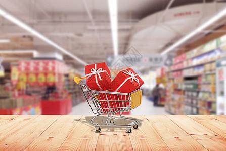 超市购物车里的物品图片