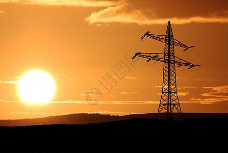 剪影电话天线信号接收塔日落背景图片