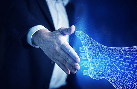 科技合作握手图片