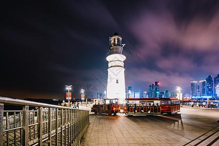 青岛灯塔夜景高清图片