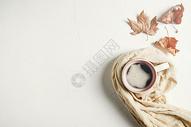 秋意咖啡静物素材图片
