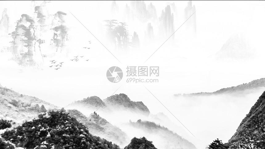 水墨画般的山水景色图片素材_免费下载_jpg图片格式