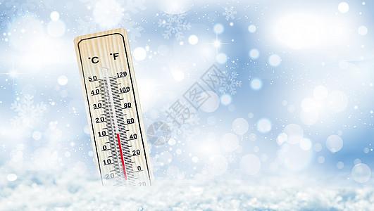 雪地里的温度计图片