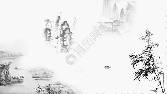水墨风格山水风光的banner背景图片