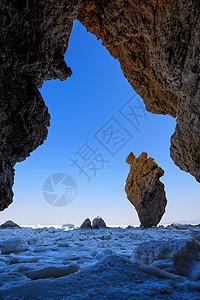 冬季寒冷的大连鹦鹉石奇观图片