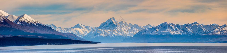 新西兰库克山全景图图片