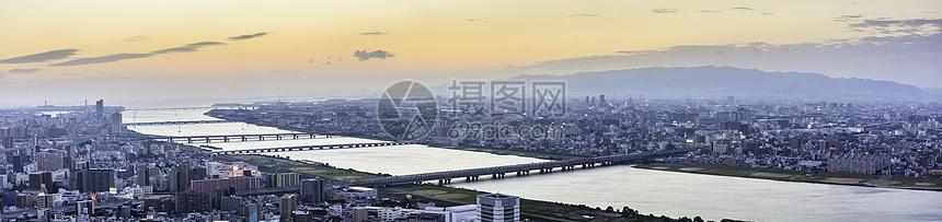 日本大阪城市城市天际线全景图图片