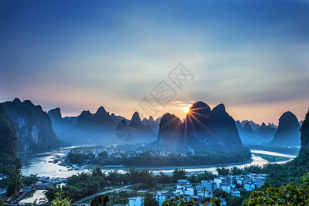 广西阳朔20元人民币景区日落光芒图图片