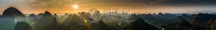 阳朔晚霞高像素全景接片图片