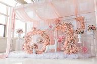 粉色甜美系婚礼婚庆布置图片