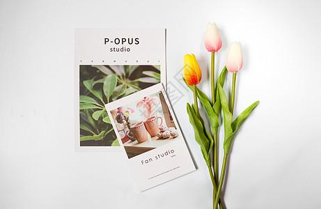 郁金香与卡片图片