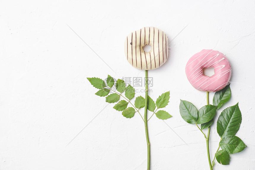 创意甜甜圈面包图片