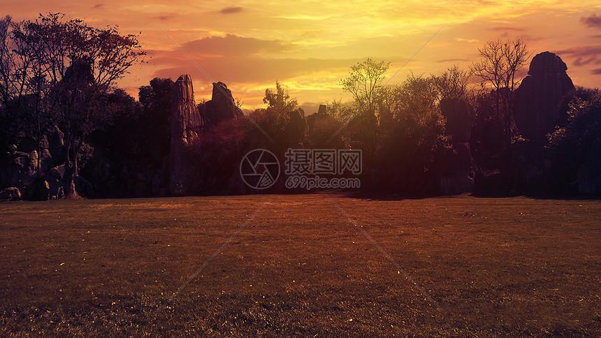 美丽石林黄昏风景图片