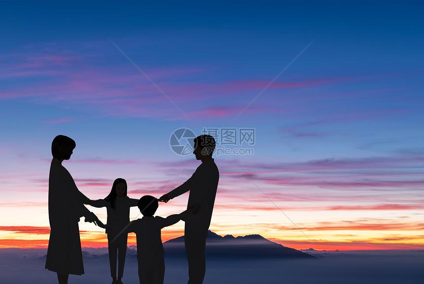 夕阳下的家庭剪影图片