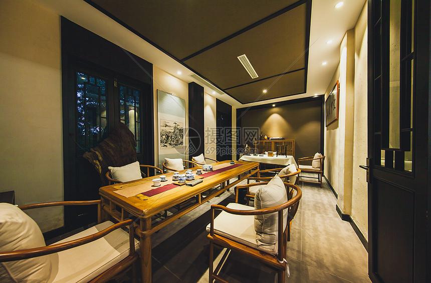 中式古典风格的茶室餐厅图片