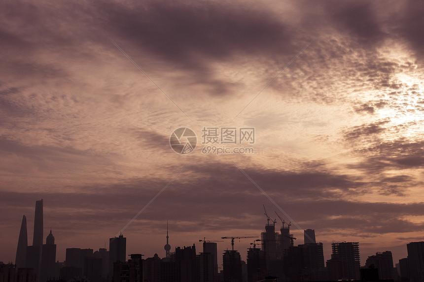 落日时的上海图片