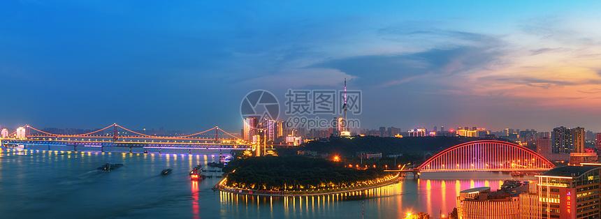 武汉长江大桥城市夜景图片