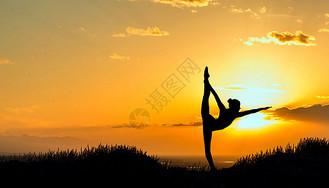 瑜伽运动剪影图片