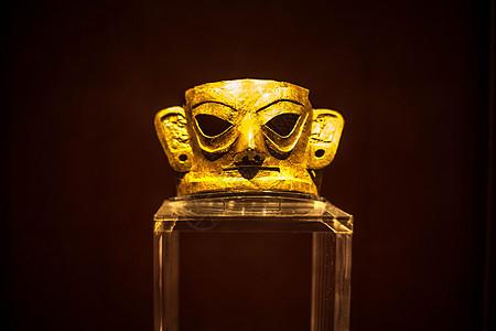 四川三星堆青铜面具古蜀文化遗址文物图片