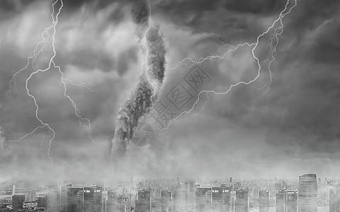城市上空的龙卷风图片