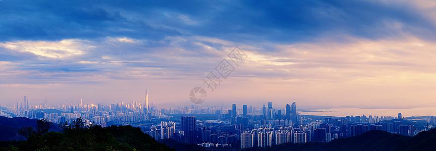 城市夕阳全景图片