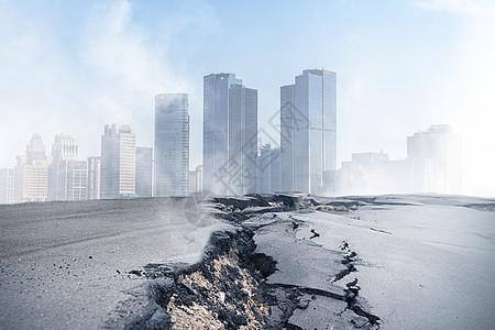 城市与裂开的公路图片