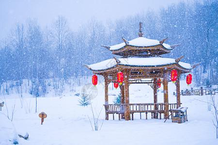 东北雪乡雪中亭子图片