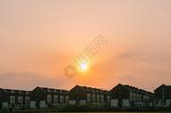 落日下的田园风光图片