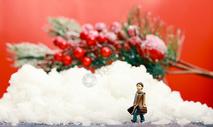 圣诞装置雪地的里小人图片