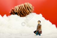 圣诞装置雪地里小人和大松果图片