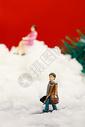 圣诞装置雪地里的小人图片