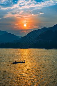 千岛湖日落山水美景图片