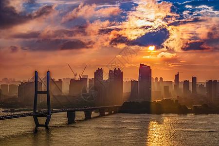 日落武汉长江二桥风光图片
