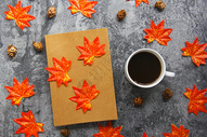 秋冬咖啡温暖枫叶图 图片