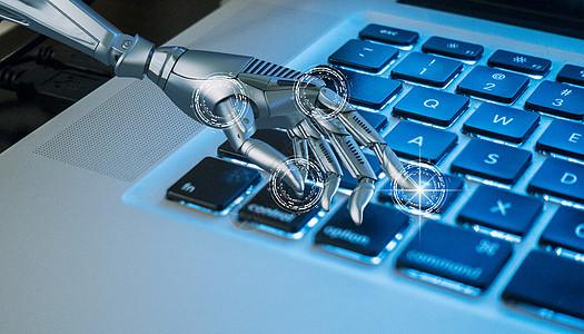 计算机键盘工作的人工智能图片