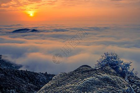 浙江括苍山日出云海与雾凇美景图片