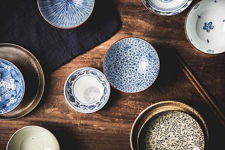 日式中古陶瓷碗餐具图片