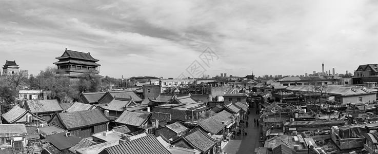 老北京鼓楼全景图片