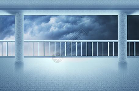 大楼阳台外的乌云背景图片