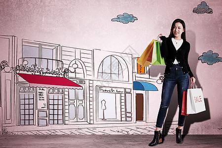 卡通购物街图片