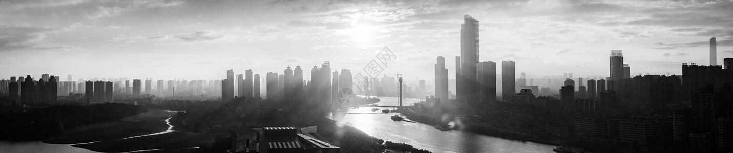 湖北武汉汉江全景黑白片图片