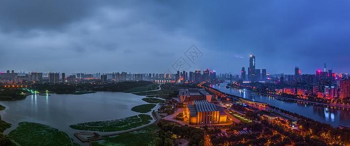 武汉汉江城市夜景高清全景图片