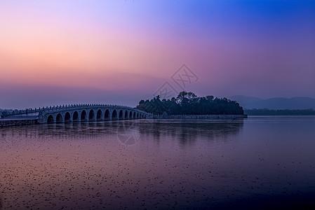 晚霞的颐和园十七孔桥图片